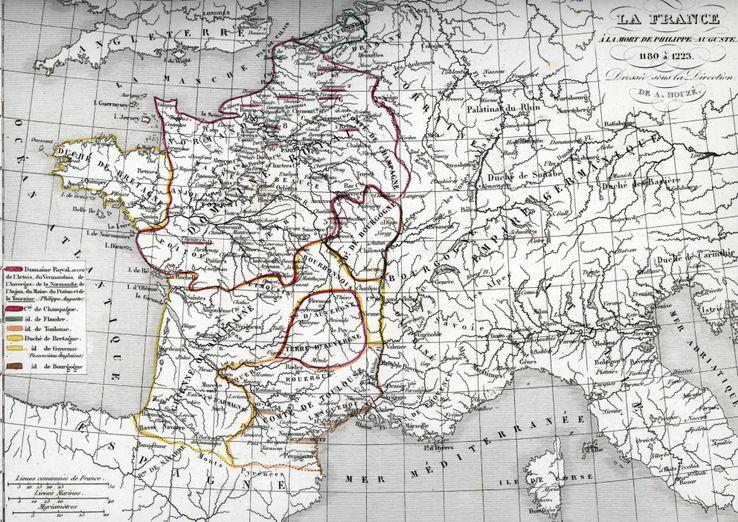 Carte historique de la France au moment de la mort de Philippe II Auguste, 1223