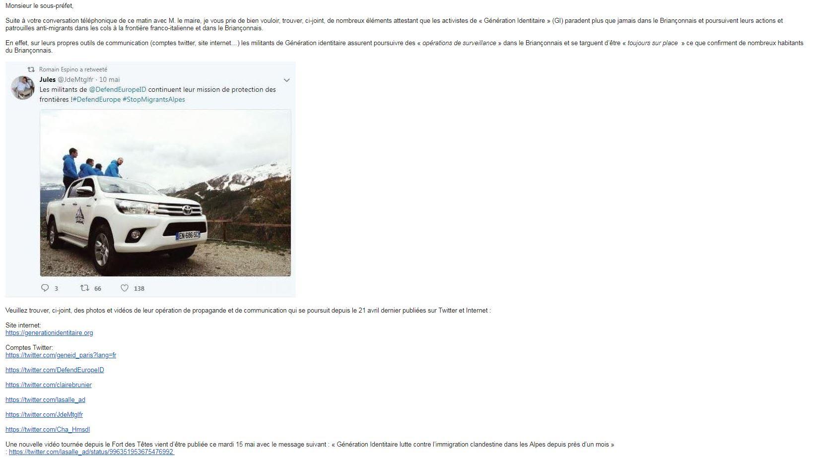 Le maire de Briançon dénonce les actions de\