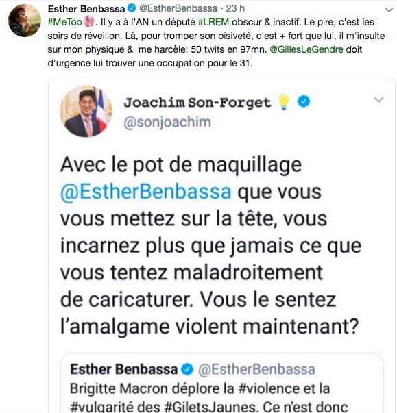Le député LaREM Joachim Son-Forget tente de s\'expliquer après ses tweets jugés sexistes envers une sénatrice: \