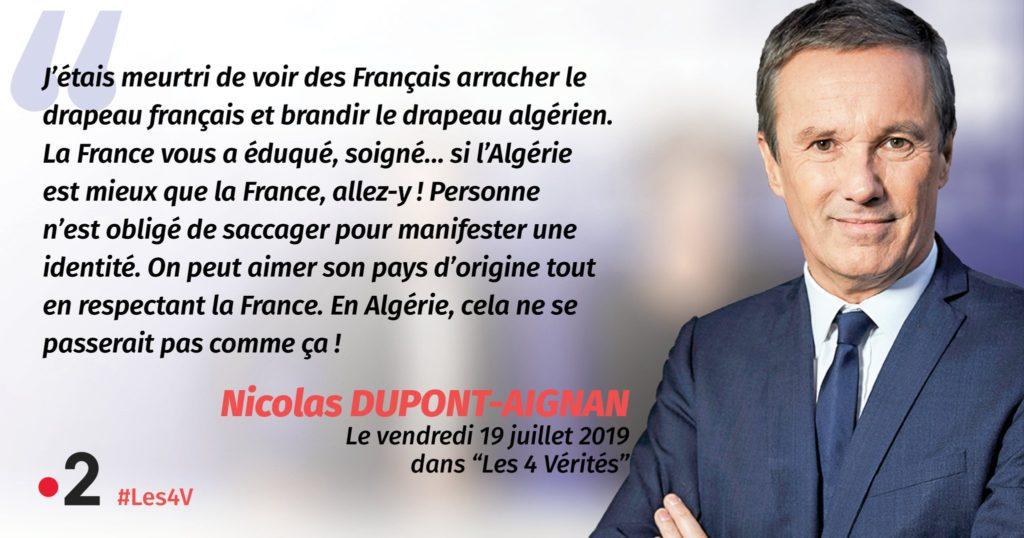 [MàJ : Le rappeur Lacrim répond à Dupont-Aignan : «On ne t'a pas demandé de venir piller notre pays, espèce de fils de p…»] «Si vous préférez l'Algérie, retournez en Algérie !» (Dupont-Aignan)