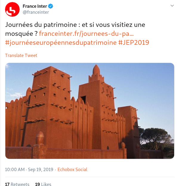 « Journées du patrimoine : et si vous visitiez une mosquée ? » (France Inter)