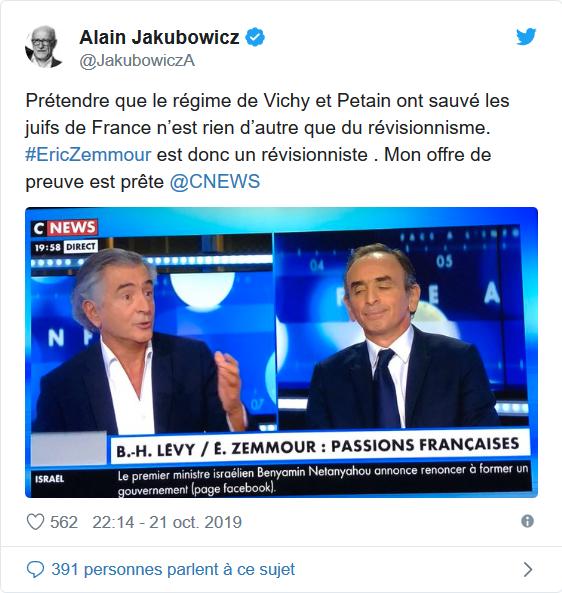 «Eric Zemmour est un révisionniste» déclare Alain Jakubowicz, l'ancien président de la LICRA