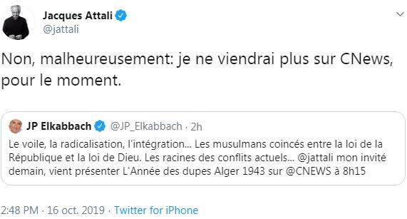 CNews : Annoncé par Elkabbach sur son plateau, Attali se désiste une heure plus tard via twitter, sans en citer la raison