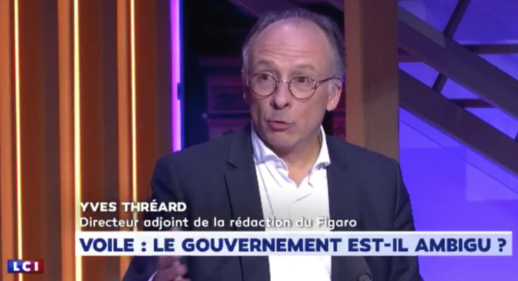 """Yves Thréard du Figaro : """"Il m'est arrivé, en France, de prendre le bus ou un bateau où il y avait quelqu'un avec un voile, et je suis descendu"""""""