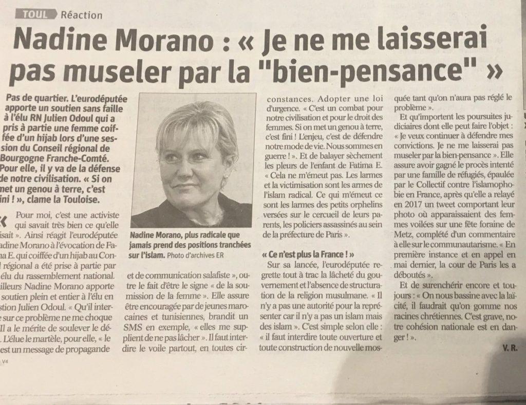 Affaire du hijab : Nadine Morano (LR) réaffirme un soutien sans faille à Julien Odoul (RN) : «Nous sommes en guerre !»