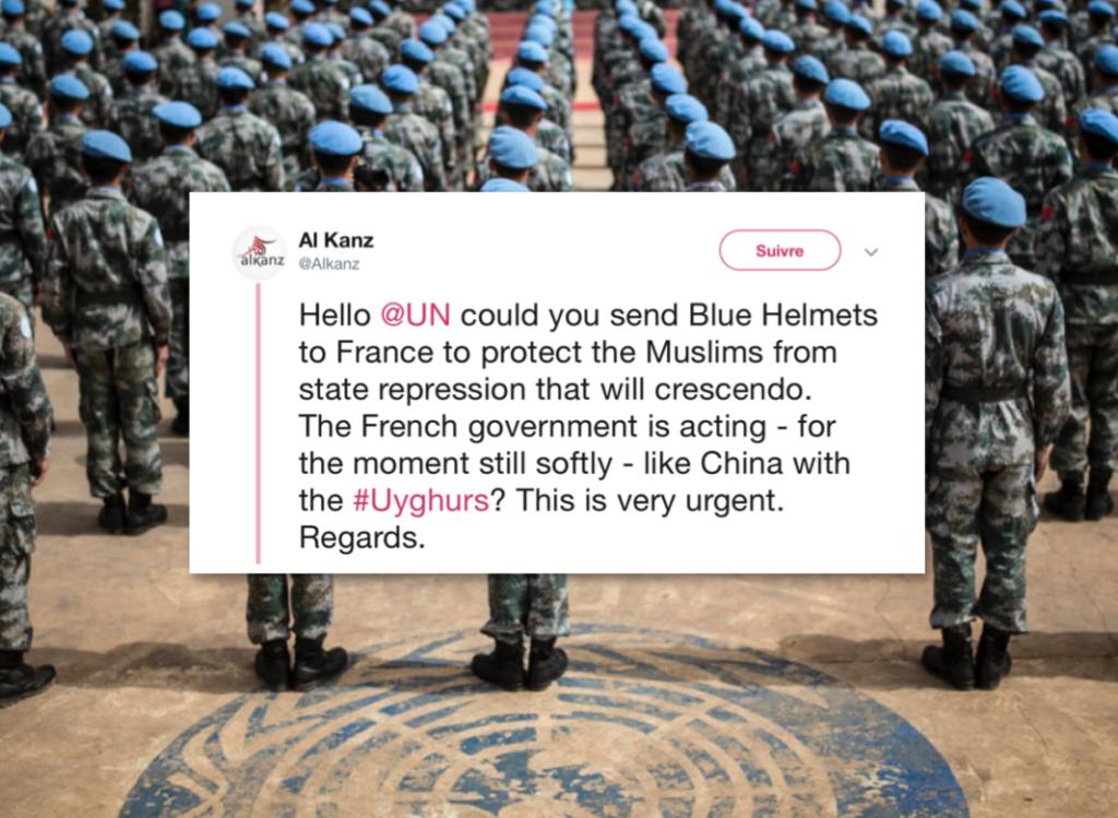 Le site communautariste Al Kanz interpelle l'ONU et demande le déploiement d'une force militaire en France pour «protéger les musulmans»