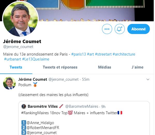 Après le buzz lié aux saccages du week-end, Jérôme Coumet (Maire PS du 13ème) se réjouit d'être sur le podium des maires les plus influents sur twitter