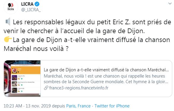 Dijon (21) : La LICRA brocarde Zemmour suite au passage de «Maréchal nous voilà» sur le jukebox de la gare SNCF