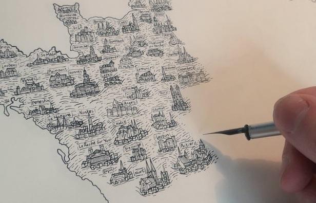 La carte de France de Pablo, dans un style ancien, fait le buzz sur twitter
