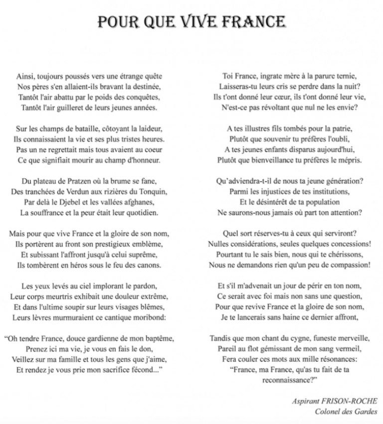 Le Poème De Clément Frison Roche Sur La Mort Pour La France