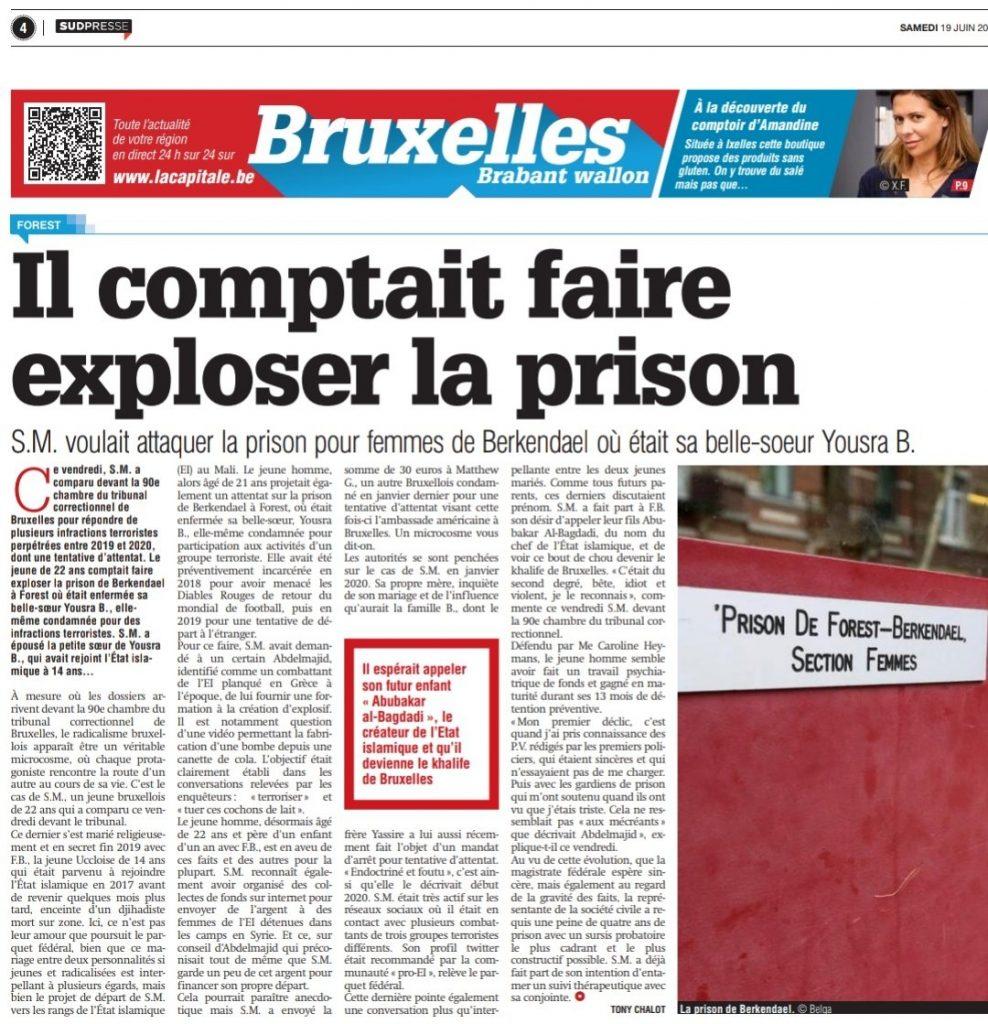 Un Belge radicalisé et marié à une enfant de 14 ans, prévoyait de faire exploser la prison où sa belle-sœur islamiste était détenue, 4 ans de sursis requis